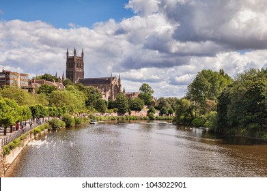 Worcester Cathedral and the River Severn, Worcester, Worcestershire, England