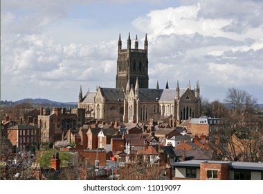 Worcester cathedral and surrounding buildings
