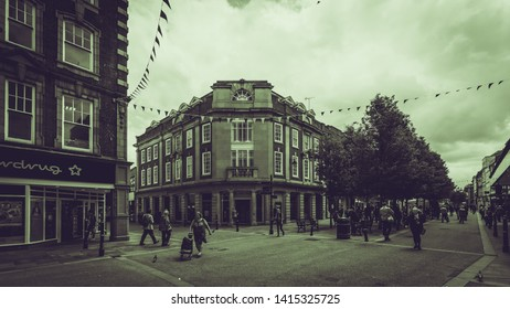 Worcester, England - June 3, 2019: Barclays Corner Building on High Street and Church Street, Black and White Split Toning Street Photography