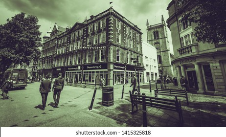 Worcester, England - June 3, 2019: Corner Building on High Street and Church Street, Black and White Split Toning Street Photography