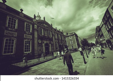 Worcester, England - June 3, 2019: Worcester Guildhall on High Street, Black and White Split Toning Street Photography Dutch Angle
