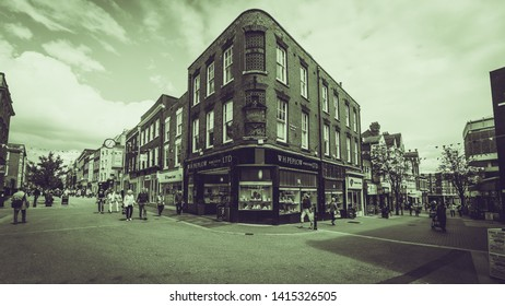 Worcester, England - June 3, 2019: Compton Building on corner of High Street and Pump Street, Black and White Split Toning Street Photography