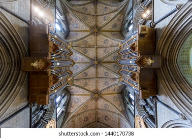 Worcester, England - June 3, 2019: Organs and Ceiling in Worcester Cathedral