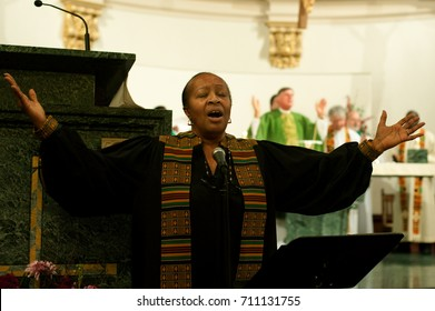WORCESTER, MASSACHUSETTS - MARCH 6, 2011: Archdiocese of Boston Black Catholic Choir member Georgia Grace, was a prominent voice during the choirs performance at St. Peter's Catholic Church.