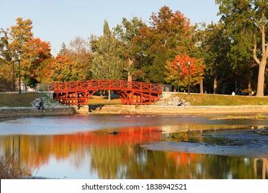 Worcester Massachusetts - October 10, 2020: Fall foliage at Elm Park in Worcester, Massachusetts. Elm Park is an historic park in Worcester, Massachusetts