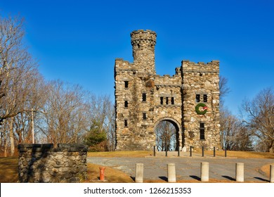 Worcester Massachusetts USA - December 23, 2018: The Bancroft Tower on a sunny morning. The Tower is a 56-foot-high (17 m) natural stone and granite tower, which looks like a miniature feudal castle.