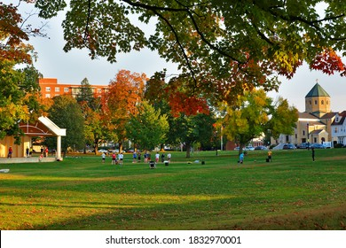 Worcester, Massachusetts USA - October 11, 2020: The institute Park on the campus of Worcester Polytechnic Institute. WPI is a private research university in Worcester, Massachusetts.