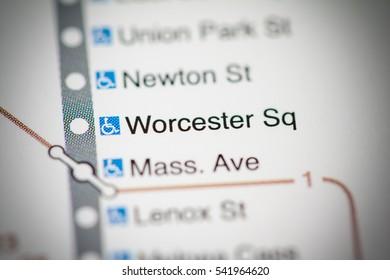 Worcester Sq Station. Boston Metro map.