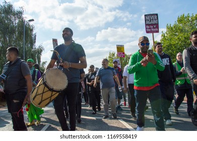 Worcester, UK. 09.01.2018. Dhol drummers at a counter EDL demonstration in Worcester