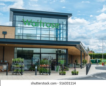 WORCESTER, UK - AUGUST 2016: The modern glass fronted facade of a Waitrose store.
