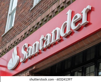 Worcester, UK - February 2017: Santander Bank branch in Worcester, England