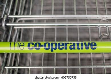 Worcester, UK - March 2017: Co-op supermarket trolley.