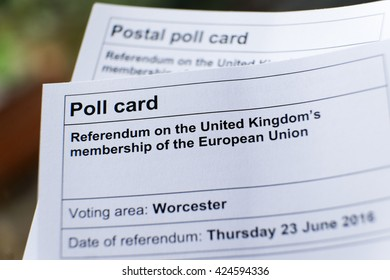 WORCESTER, UK - MAY 2016: A poll card for the referendum on the UK's membership of the EU