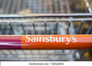 WORCESTER, UK - NOVEMBER 2016: Sainsbury's supermarket trolley