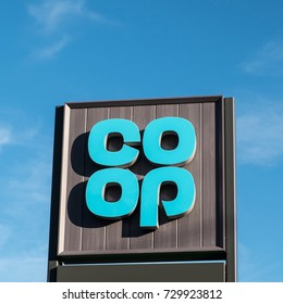 Worcester, UK - October 2017: Co-op supermarket sign