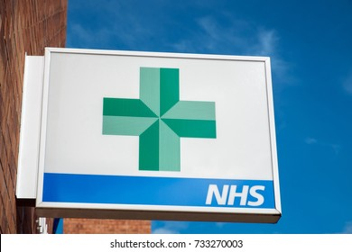 Worcester, UK - October 2017: Pharmacy and NHS sign