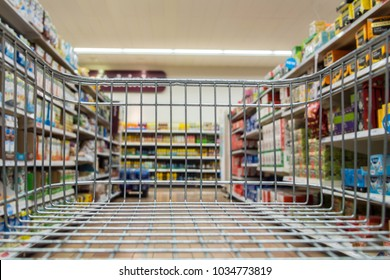 Worcester (UK) - September 2017: View along a supermarket aisle from within a trolley