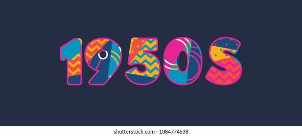 The word 1950s concept written in colorful abstract typography.
