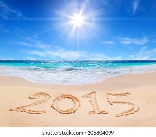 word 2015 on the tropical beach