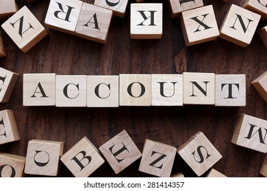 the word of ACCOUNT on cubes