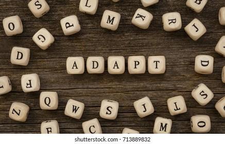 Word ADAPT written on wood block