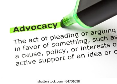 The word ADVOCACY highlighted in green with felt tip pen