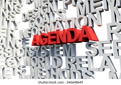 Word Agenda in red, salient among other related keywords concept in white. 3d render illustration.