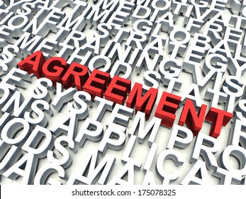 Word Agreement in red, salient among other related keywords concept in white. 3d render illustration.
