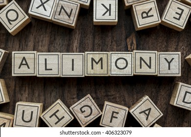 the word of ALIMONY on building blocks concept