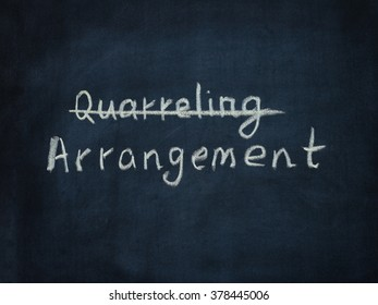 Word Arrangement and crossed out word Quarreling on black chalkboard. Psychology concept