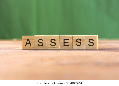the word of ASSESS on wood tiles concept