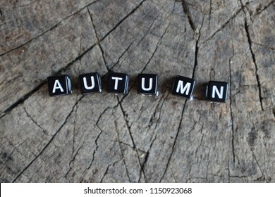 "The word ""autumn"" on a wooden background"