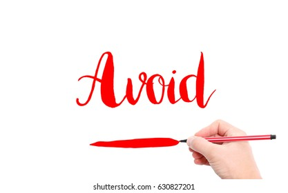 The word of Avoid written by hand on a white background