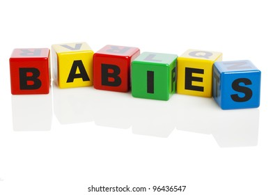 The word Babies spelled with colorful alphabet building blocks, isolated on white background.