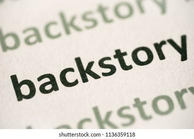 word backstory  printed on white paper macro