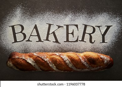 Word bakery and baguette background
