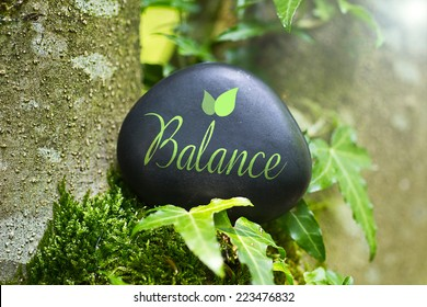 The Word Balance on a stone in nature