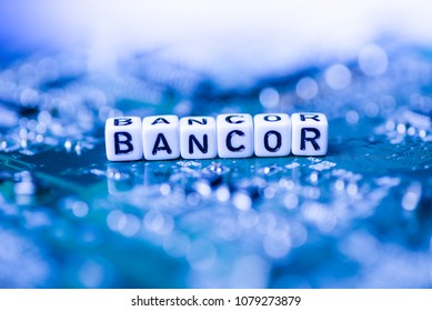 Word BANCOR formed by alphabet blocks on mother cryptocurrency