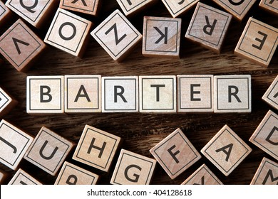 the word of BARTER on building blocks concept