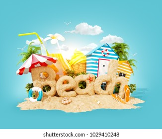 The word Beach made of sand on a tropical island. Unusual 3d illustration of summer vacation. Travel and vacation concept.