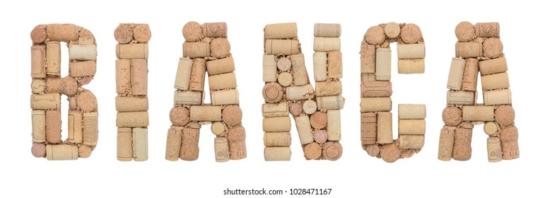 Word Bianca made of wine corks Isolated on white background