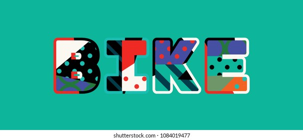 The word BIKE concept written in colorful abstract typography.