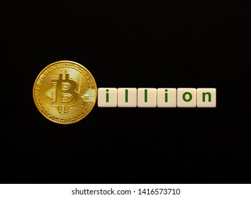 Word Billion made up of cubes. The first letter of the word is symbolized by a bitcoin coin. Concept of strong BTC, bitcoin growth rate, price increase, blockchain confidence, positive price outlook.