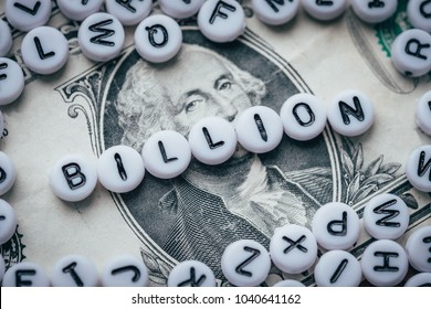 Word BILLION made from small white letters on dollar background