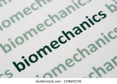word biomechanics printed on white paper macro