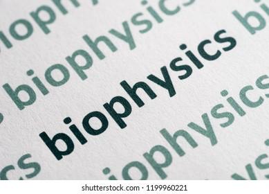 word biophysics printed on white paper macro