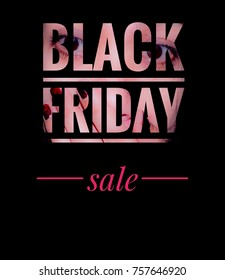 """The word """"BLACK FRIDAY"""" is on the face with the excited eyes and the word """"sale"""" red on a black background, the concept of sales."""