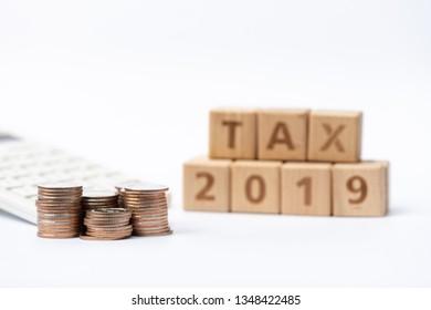 Word Block TAX 2019 On Pile Stock Photo (Edit Now) 1261797664