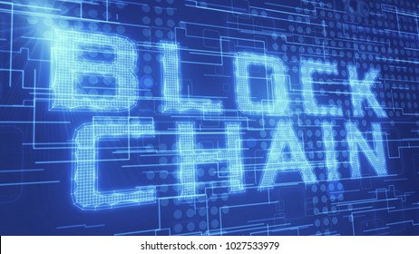 the word blockchain with abstract background, concept of cryptocurrencies technology (3d render)