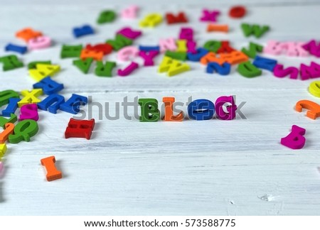 word blog small wooden letters